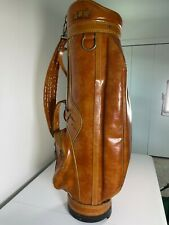 Vintage Burton Cart Golf Bag 6 Way Dividers Brown Leather Vinyl Made in USA