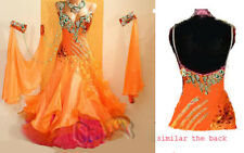 B4005 Ballroom Watlz ango Standard US 8 Dance Dress Orange V Back