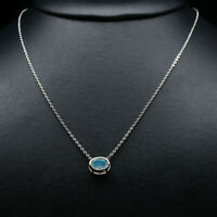 """NATURAL 8 X 10 mm. OVAL WHITE RAINBOW OPAL NECKLACE 34"""" 925 STERLING SILVER"""