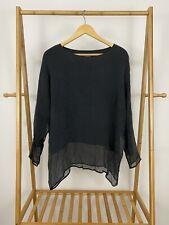 Eskandar Neiman Marcus Women's 100% Silk Boat Neck Pullover Top Shirt Size 0