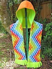 Hooded Pocket Scarf, Dot Print, Handmade, Orange & Green Hood,Fleece,