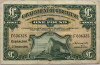 GIBRALTAR - 1 POUND (03.10.1958) - Billet de banque (TB)