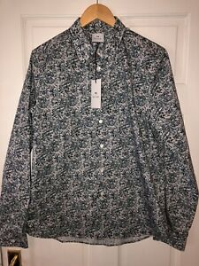 PAUL SMITH PS Mens Long Sleeved Shirt Size L~Tailored~NEW~ RRP £149~Blue & White