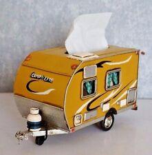 AIRSTREAM SHASTA yellow TRAILER CAMPER tissue box tin tinplate car handmade 1pcs