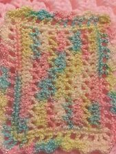 CROCHETED By Artist MINIATURE DOLLHOUSE  BLANKET Pastel Sparkle Number Four