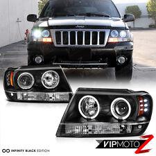 1999-2004 Jeep Grand Cherokee WJ WG Black LED Halo Angel Eye Projector Headlight