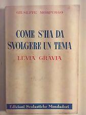 LIBRO - GIUSEPPE MORPURGO - COME S'HA DA SVOLGERE UN TEMA (LEVIA GRAVIA) 1950