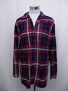 Nautica Sleepwear, Men's Button Front Plaid Print Pajama Camp Shirt 2XL #3051