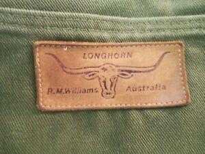 R.M Williams, True Vintage 70s Mens Jeans Dark Olive, made in South Australia.