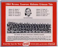 Alabama  **RARE** 1964 Promo Photo Coca-Cola/Golden Flake Joe Namath Bear Bryant