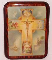 Vintage Wooden Plaque LIFE OF JESUS Crucifixion Nativity Last Supper