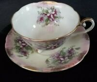 Vintage Royal Sealy China Japan Teacup & Saucer -Pink, Purple, Blue,Green & Gold
