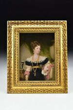Artist Signed Irish Miniature Portrait Painting of Woman by Samuel Lover