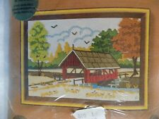 "Meadow Bridge by Barbara Jennings Jiffy Stitchery 1980 Kit #823 5"" x 7"""