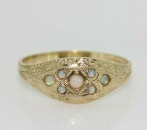 9ct Yellow Gold Opal Gypsy Ring (Size M 1/2, N 1/2, O 1/2)