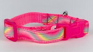 "Rainbow cat or small dog collar 1/2"" wide adjustable buckle handmade bell leash"