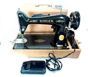1947 SINGER Model 66 Sewing Machine w/ Case, Extras & Lamp ~ WORKS