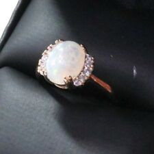 Sparkling Oval White Opal Ring Women Wedding Jewelry 14K Gold Plated Nickel Free