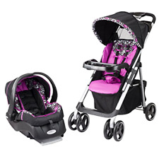 Vive Travel System Stroller with Embrace Infant Car Seat Large Canopy and Window