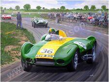 Archie scott brown, 1957 lister jaguar, traite bombe trou, snetterton, dédicacé