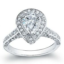 3.32 Ct. Pave Halo Tear Drop Pear Cut Diamond Engagement Ring G, SI1 EGL