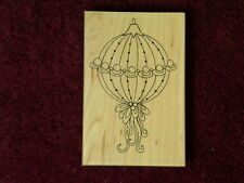New Impression Obsession Ornament 2  Fancy E2230 Ribbon Christmas Rubber Stamp