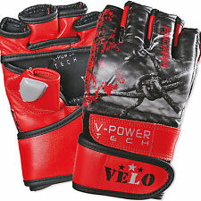 VELO MMA Gloves Boxing Leather UFC Grappling Fight  Punch bag Wraps Training
