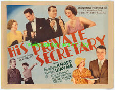 HIS PRIVATE SECRETARY MOVIE POSTER 22x28 JOHN WAYNE 1933 HALF SHEET  PB STYLE B