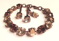 Swarovski Crystal Element Bracelet Earrings 8mm Cup Chain Brown,Silk,Rose Gold