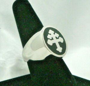 New Enameled Magnum PI Viet Nam Unit Cross of Lorraine Ring Sz 8-15