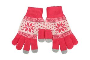Kids Fair Isle Thermal Gloves Warm Knitted Pattern Teens iTouch Screen Gloves