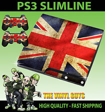 Playstation ps3 slim Union Jack Drapeau Britannique Autocollant peau & 2 pad skins