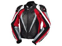 iXS Lederjacke Corbin | Schwarz-Rot-Weiß | Motorradjacke aus Rindsleder