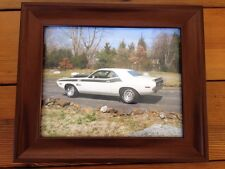 Vtg Dodge Cuda Barracuda Printed Color Photograph Classic Muscle Car Framed Art