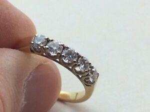 "18ct 750 Yellow Gold 5 Diamond Stoned Eternity Ring Size UK ""R"" Ship Worldwide"