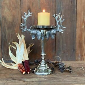 Silver Elk Reindeer Pillar Candle Holder for Christmas Holiday Centerpiece