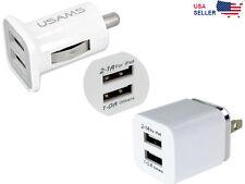 2-Port Dual USB Wall + Car Charger US Plug For Samsung HTC LG iPhone iPod iPad