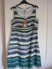 MANTARAY GAUZY MULTI STRIPED EMBROIDERED SUN DRESS UK 20, EUR 46-48, US 16. BNWT