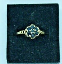 Vintage 9ct yellow gold 1960's 70's Sapphire cluster ring. Size L 1/2.