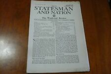 THE NEW STATESMAN AND NATION NEWSPAPER GREAT BRITAIN PRE WW2 WAR IN SPAIN SHAW