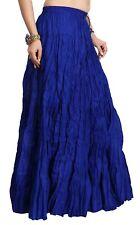 Womens Long Flaired Cotton Skirt Multi Color Boho Maxi Bottoms Elastic Waist