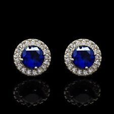14K White Gold 1.30Ct Blue Sapphire Round Simulated Diamond Halo Stud Earrings