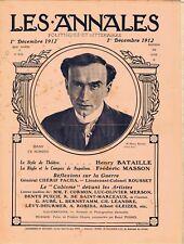 Les annales n°1536 du 01/12/1912 Henry Bataille Cubisme Peinture