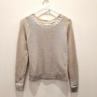 DOTTI Womens Grey Knit Jumper Sweater Metallic Silver Coated Fits Small