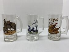 Vintage Set Schmidt Beer Collector Series 2 Glass Mugs 1 Wolf 2 Loon 3 Turkey
