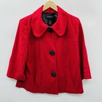 Lane Bryant Womens Size 16 Cropped Blazer Suit Jacket 3/4 Length Sleeves Red $69