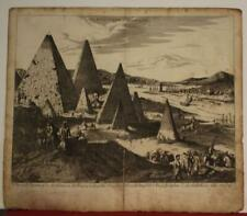 GIZA EGYPTIAN PYRAMIDS EGYPT 1685 WAGNER UNUSUAL ANTIQUE COPPER ENGRAVED VIEW