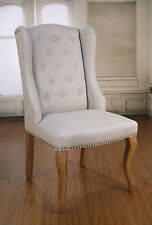 6 x Dining Chairs French Provincial Oak and Linen Bedroom Decor Chair Brand New