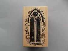 100 PROOF PRESS RUBBER STAMPS TALL STAIN GLASS WINDOW NEW wood STAMP