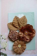 BURLAP & BROWN Rose All Fabric 3Flower Mix 40-75mm across + 3 Leaves GreenTara D